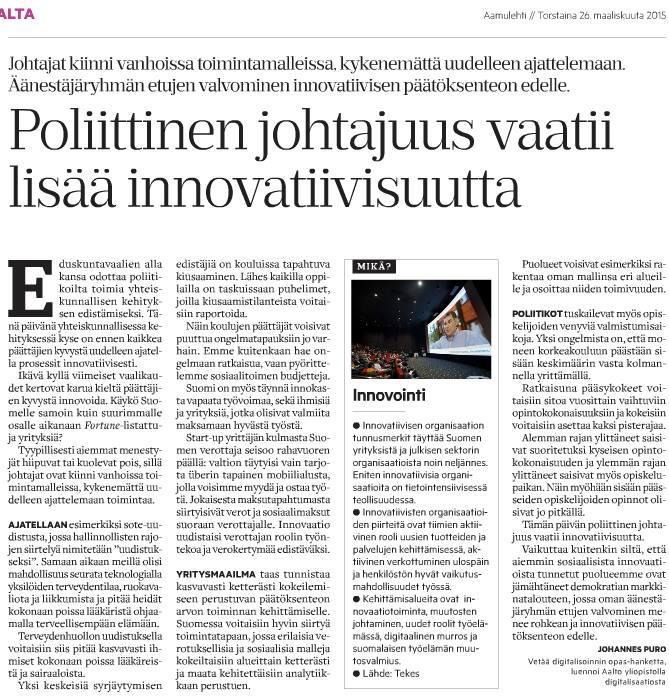 Poliittinen johtajuus vaatii innovatiivisuutta