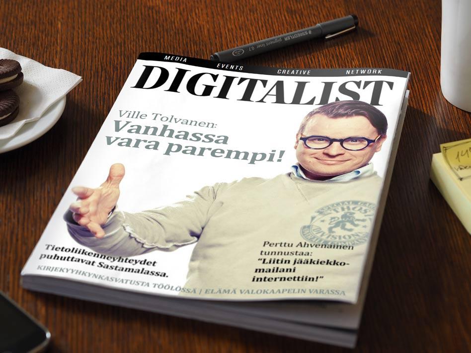 Digitalistin ensimmäisessä numerossa haastatellaan digi-innovaattori Perttu Ahvenaista. Ahvenainen palkittiin Apps4Finlnad gaalassa työstään, jossa hän liitti jääkiekkomailansa internetiin.