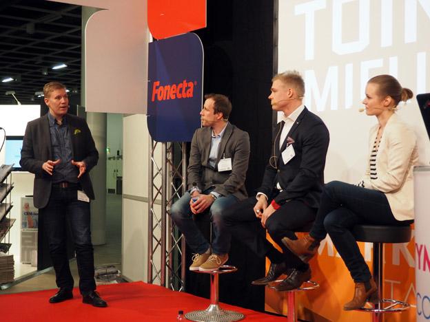 ecommercen marketing lavalla Jarkko Kurvinen, Sani Leino, Tuomas Haapsaari ja Hanna Harjula.