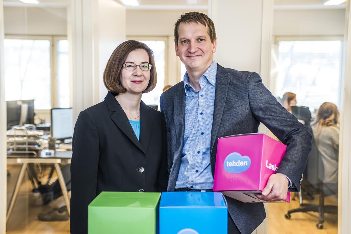 Tehdenin perustanut yrittäjäpariskunta Heli Nykänen ja Teemu Juntunen